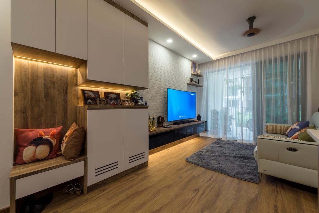 Contemporary, Condo, Living Room, The Terrace, Interior Designer, Earth Interior Design Pte Ltd