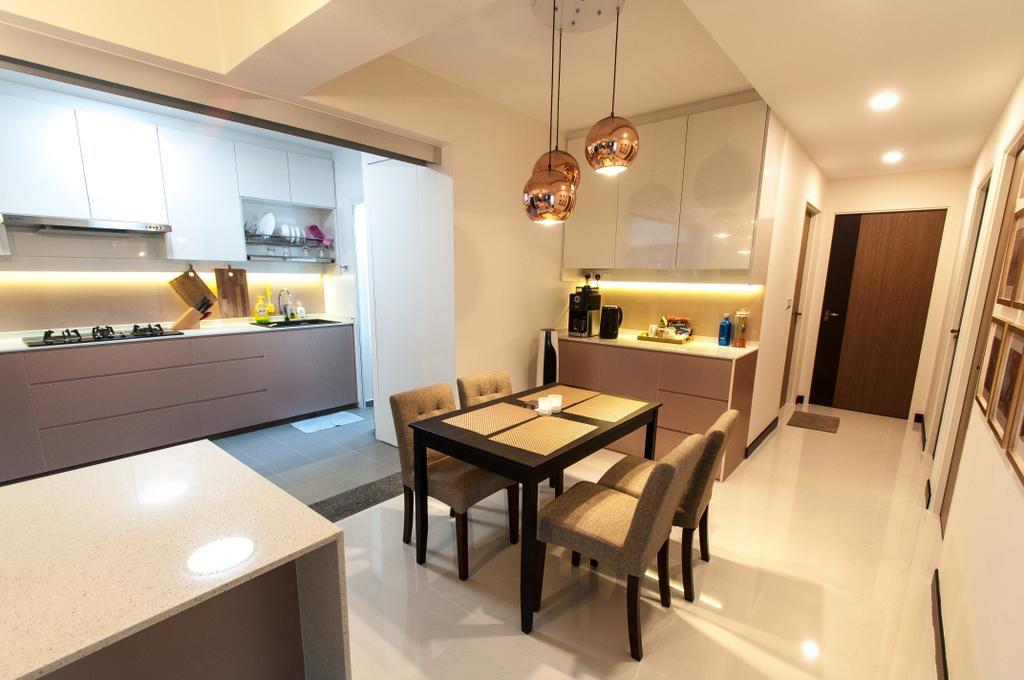 Modern, HDB, Dining Room, Compassvale Crescent, Interior Designer, Space Atelier
