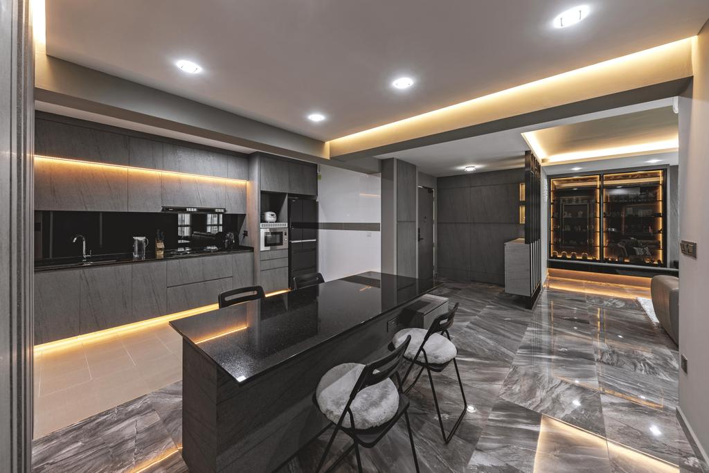 Contemporary, HDB, Kitchen, Yung Kuang Road, Interior Designer, Inclover Design