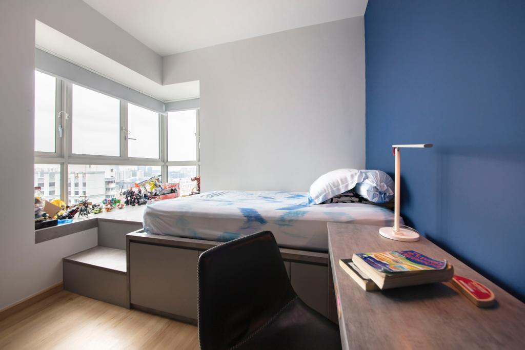 Modern, Condo, Bedroom, The Metropolitan, Interior Designer, Aart Boxx Interior, Scandinavian, Platform Bed, Bay Window, Window Seat
