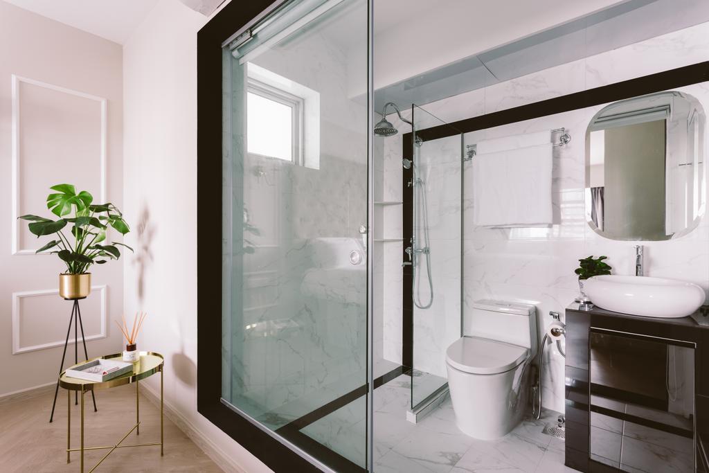 Modern, HDB, Bathroom, Telok Blangah, Interior Designer, D Initial Concept, Vintage, Ensuite Bathroom, Ensuite, Open Bathroom