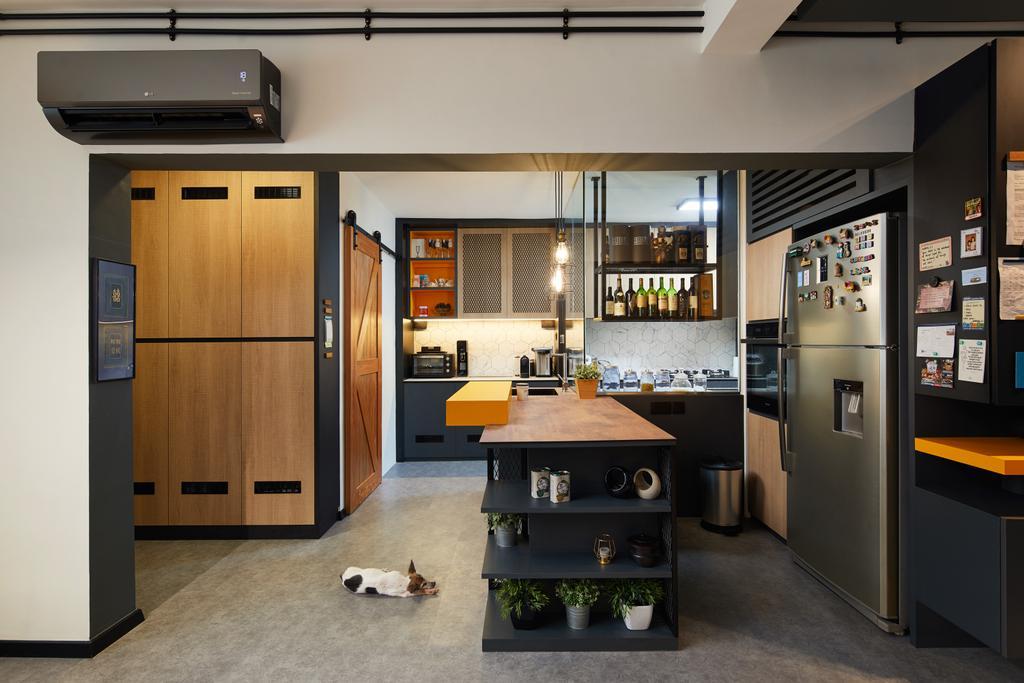 Contemporary, HDB, Kitchen, Serangoon, Interior Designer, Black N White Haus, Kitchen Island, Open Kitchen