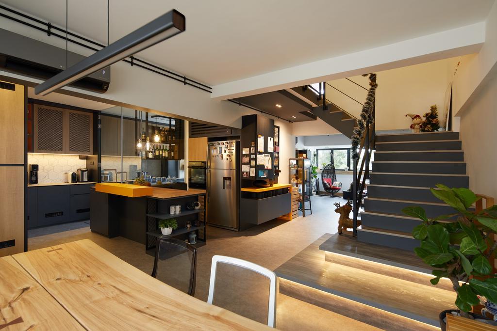 Contemporary, HDB, Living Room, Serangoon, Interior Designer, Black N White Haus, Maisonette, Staircase, Open Concept, Open Living