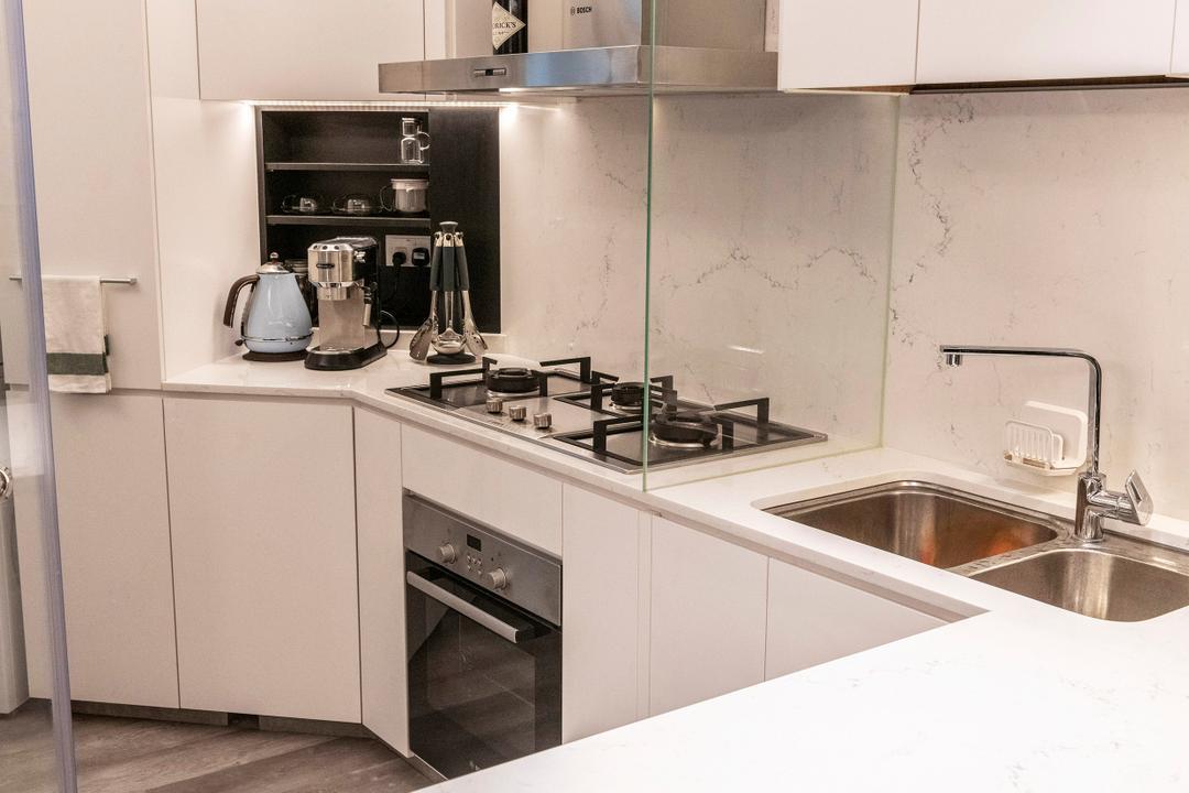 Bedok North, erstudio, Contemporary, Kitchen, HDB, Wet And Dry Kitchen, Wet Kitchen, Dry Kitchen