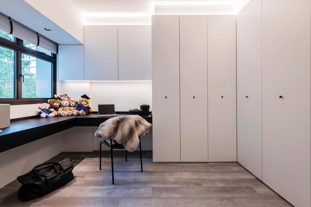 Contemporary, HDB, Study, Bedok North, Interior Designer, erstudio, Monochrome, Black And White