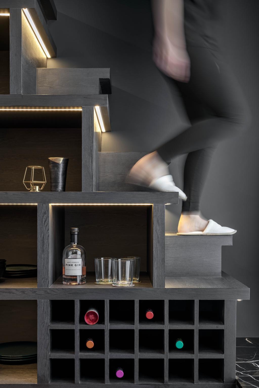 Contemporary, Condo, Kitchen, Espada, Interior Designer, Weiken.com, Wine Storage, Wine Cabinet, Wine Shelves, Wine Shelf, Stairs, Loft