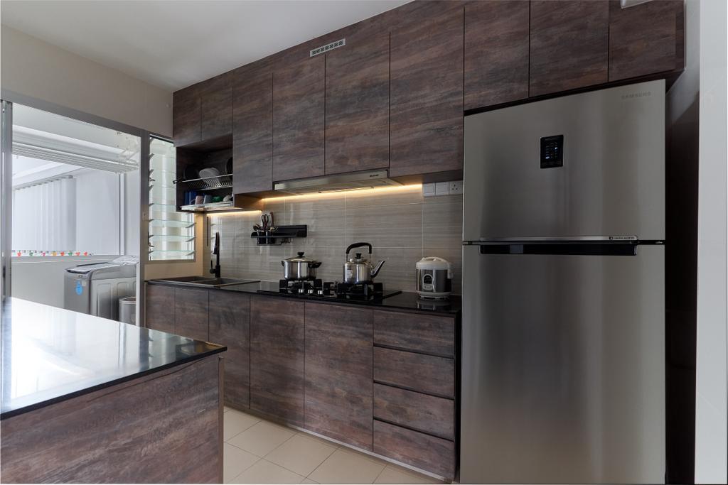Industrial, HDB, Kitchen, Sumang Lane, Interior Designer, Bob's Construction & Engineering, Contemporary