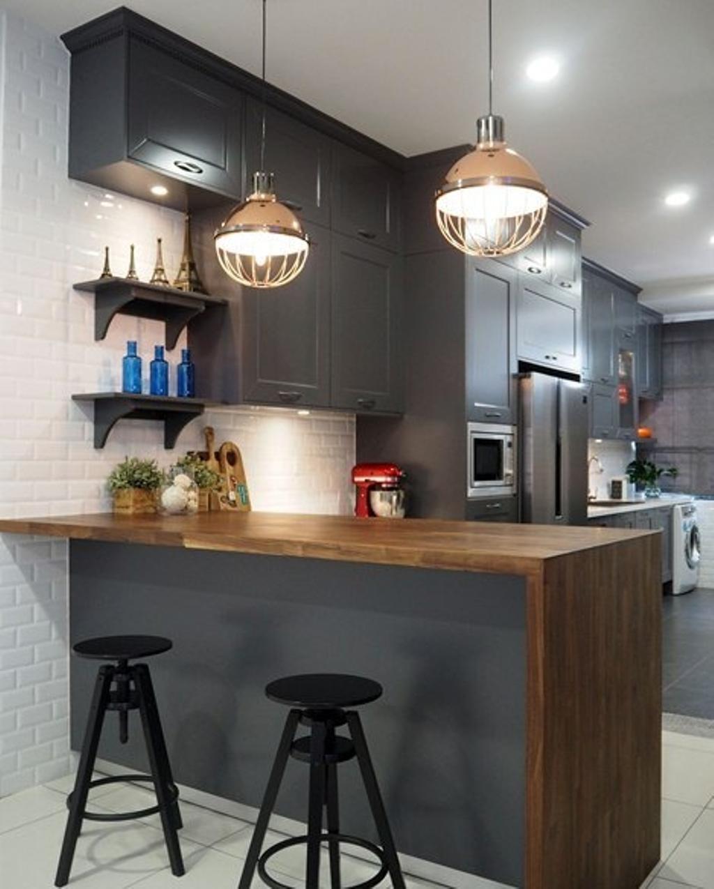 Modern, Landed, Kitchen, Glenmarie, Shah Alam, Interior Designer, Meridian Interior Design, Kitchen Peninsula