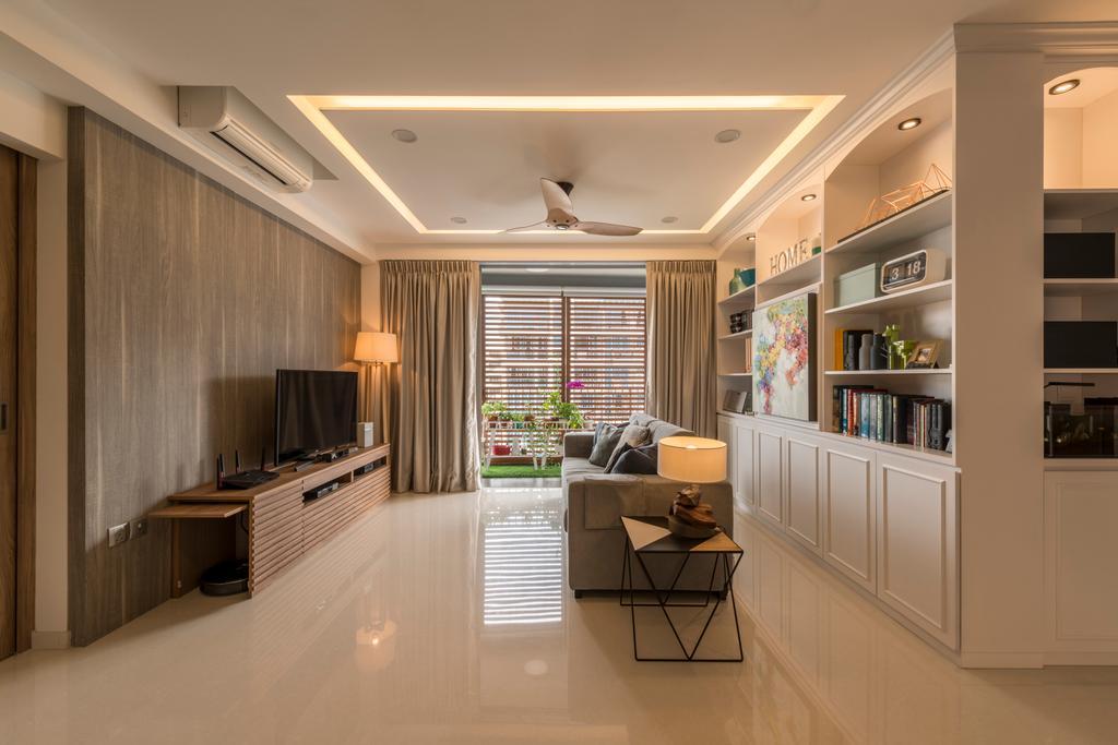 Contemporary, Condo, Living Room, Q Bay Residences, Interior Designer, Earth Interior Design Pte Ltd