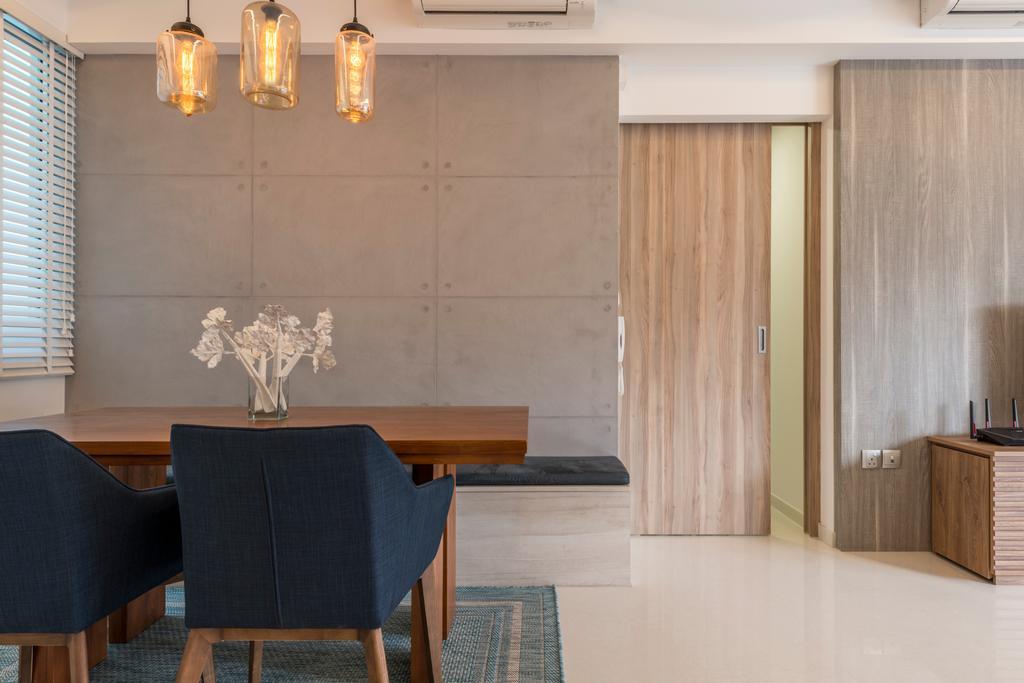 Contemporary, Condo, Dining Room, Q Bay Residences, Interior Designer, Earth Interior Design Pte Ltd
