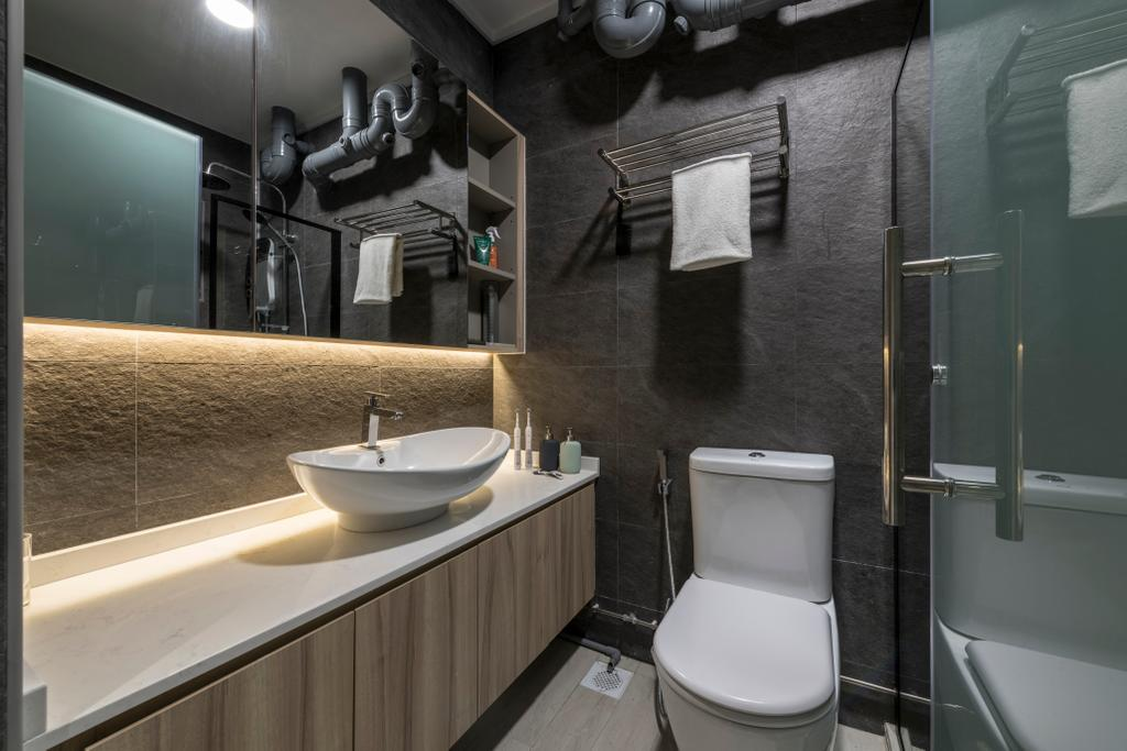 Modern, HDB, Bathroom, Jurong West (Block 605), Interior Designer, Earth Interior Design Pte Ltd