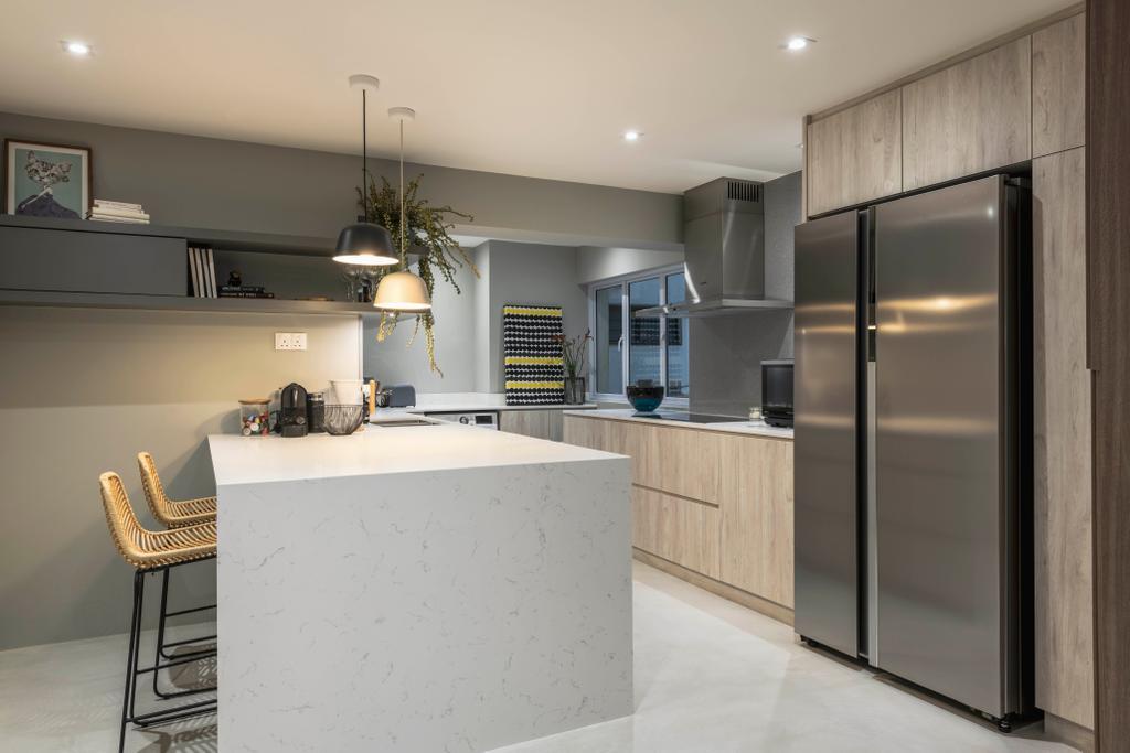 Contemporary, HDB, Kitchen, Jalan Dusun, Interior Designer, Bowerman, Kitchen Island, Open Kitchen, Open Concept