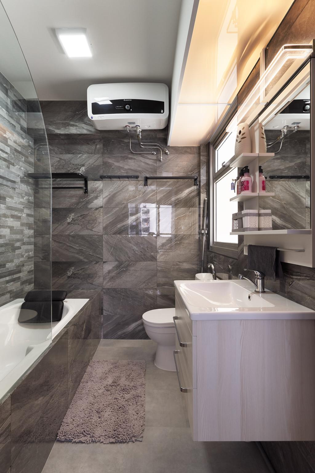 Modern, HDB, Bathroom, Sembawang Crescent, Interior Designer, Noble Interior Design