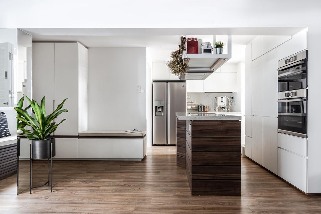 Contemporary, HDB, Kitchen, McNair Road, Interior Designer, DISTINCTidENTITY, Modern, Kitchen Island
