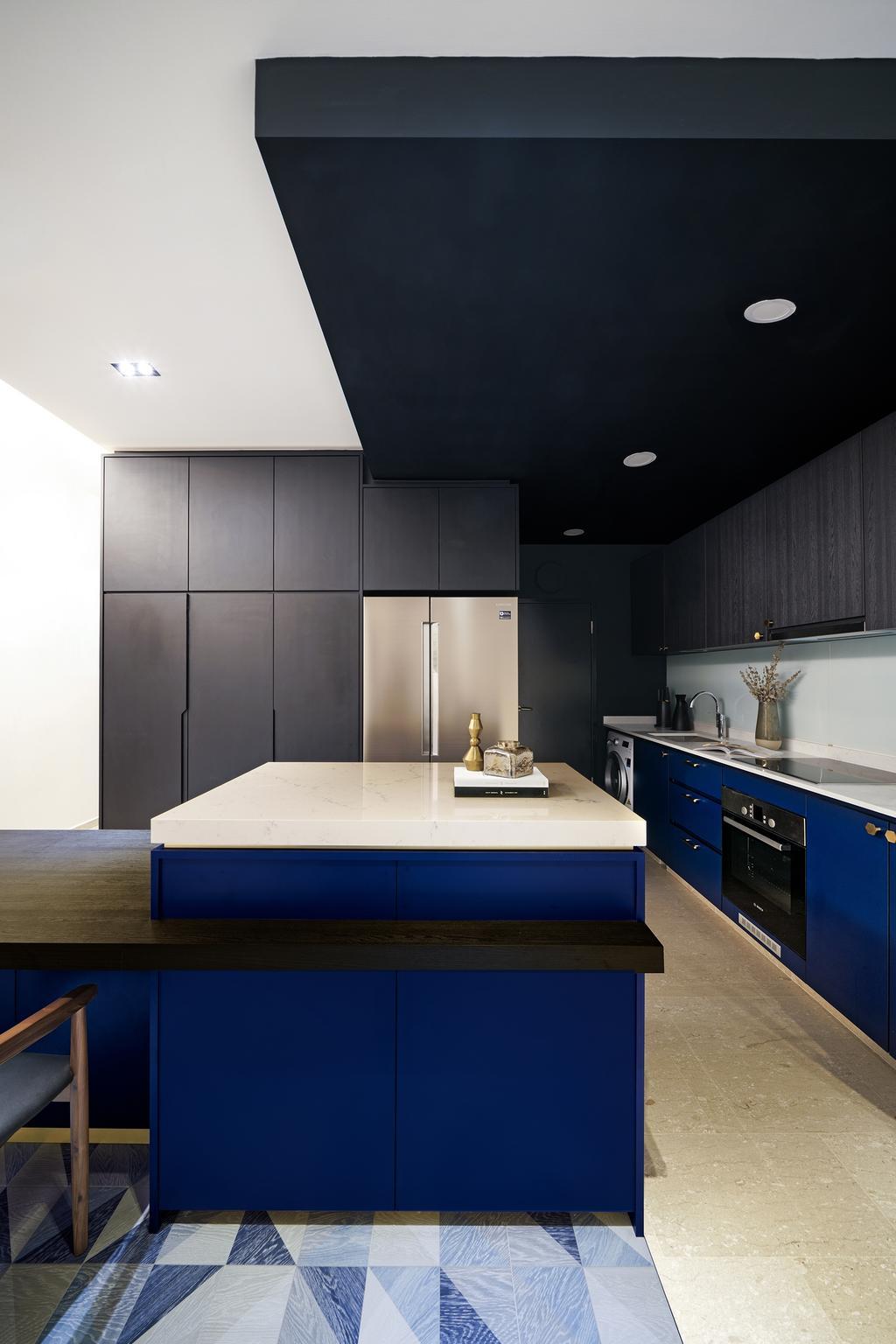 Contemporary, Condo, Kitchen, Faber Walk, Interior Designer, DISTINCTidENTITY, Modern, Kitchen Island, Blue, Tiles, Graphic Tiles