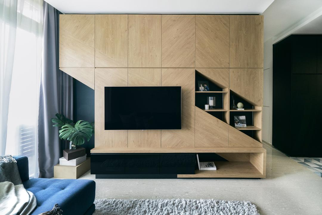 Faber Walk, DISTINCTidENTITY, Contemporary, Modern, Living Room, Condo, Feature Wall, Media Console, Tv Feature