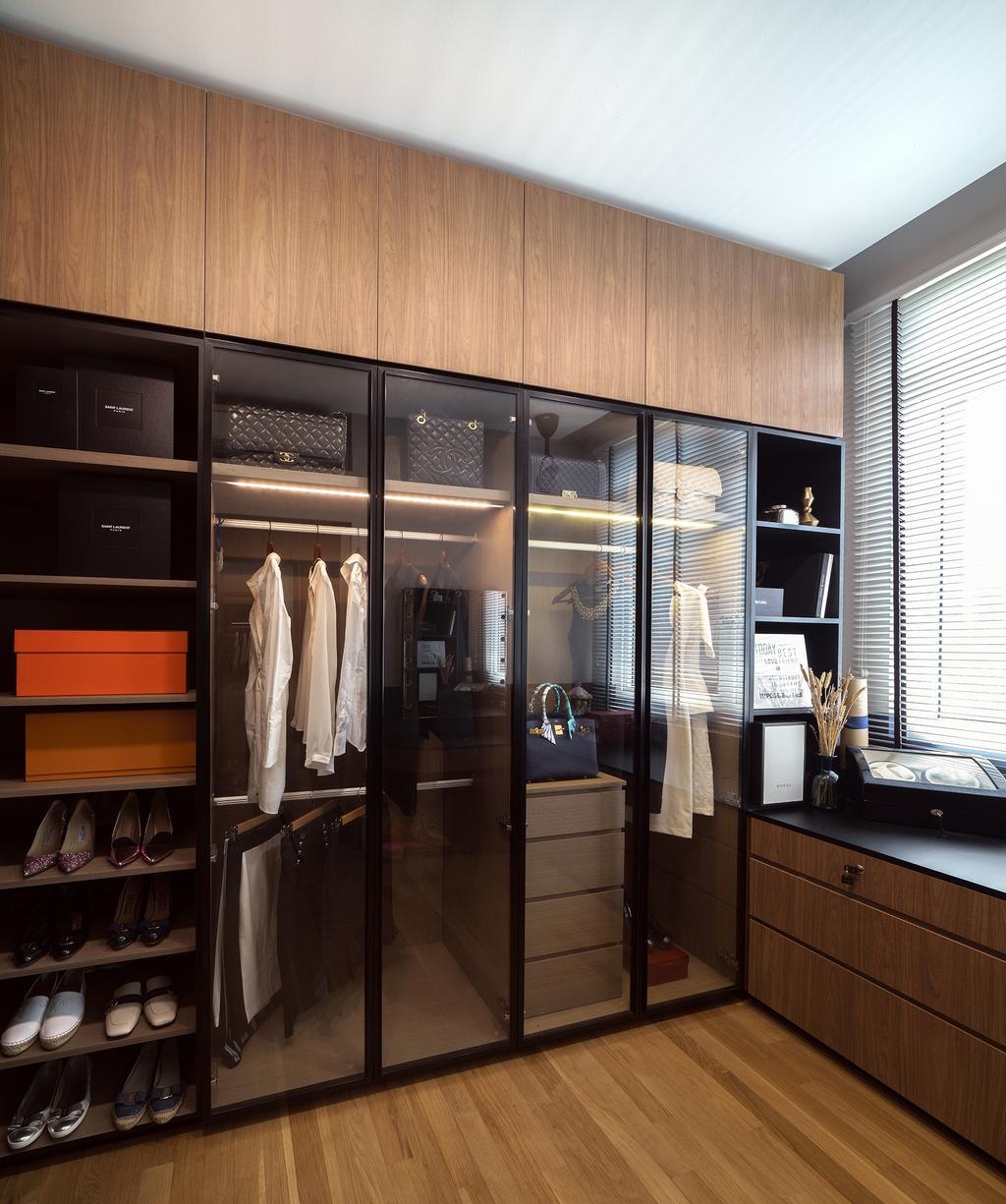 Contemporary, Condo, Bedroom, Faber Walk, Interior Designer, DISTINCTidENTITY, Modern, Wardrobe, Walk In Wardrobe