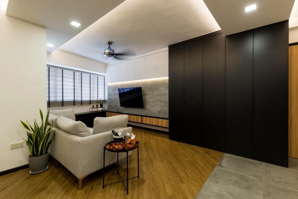 Contemporary, HDB, Living Room, Punggol Field, Interior Designer, Visionary Interior, Modern