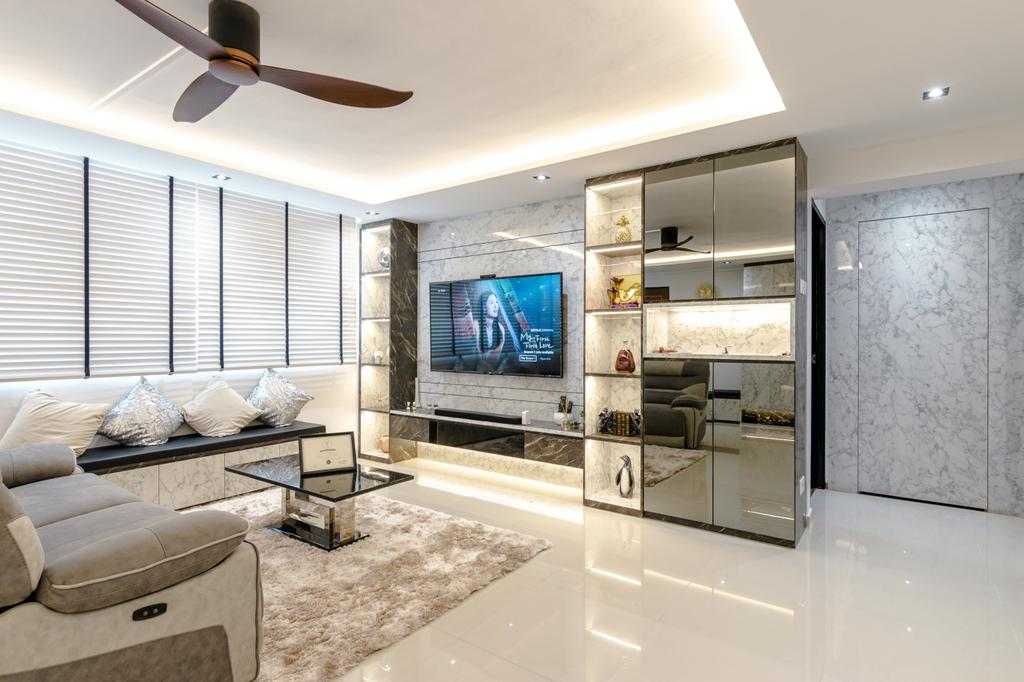 Modern, HDB, Living Room, Serangoon Avenue 3, Interior Designer, 9 Creation