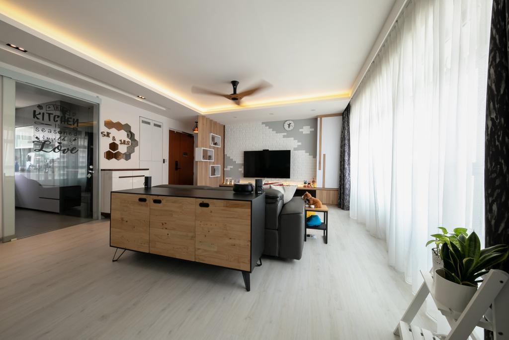 Modern, HDB, Living Room, Bukit Batok, Interior Designer, Space Atelier, Scandinavian