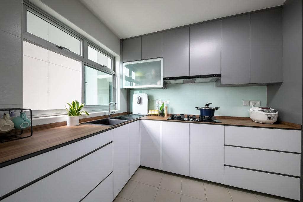 Modern, HDB, Kitchen, Bukit Batok, Interior Designer, Space Atelier, Scandinavian