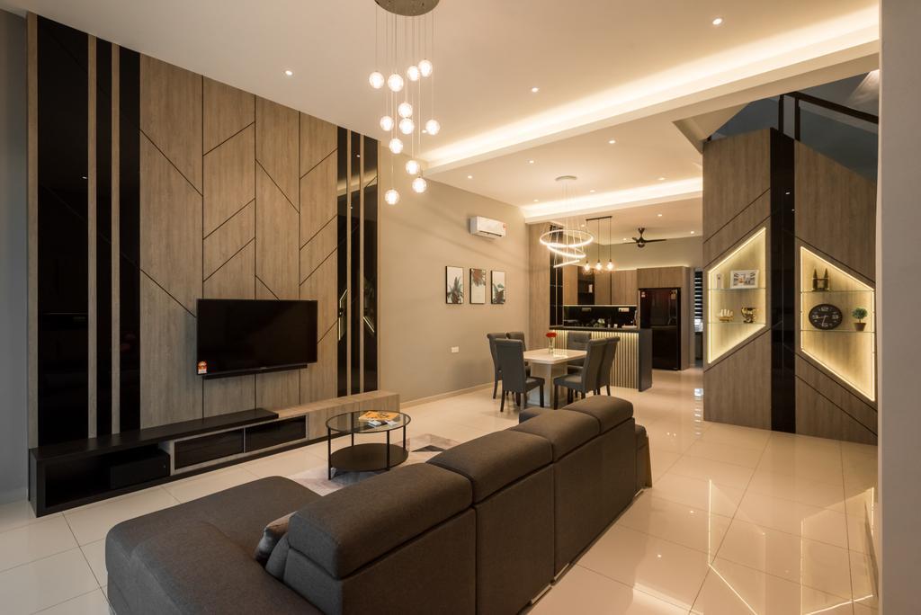 Modern, Landed, Living Room, Taman Sejati Jaya, Sitiawan Perak, Interior Designer, ZOGE Interior & Build (M) Sdn. Bhd., Contemporary