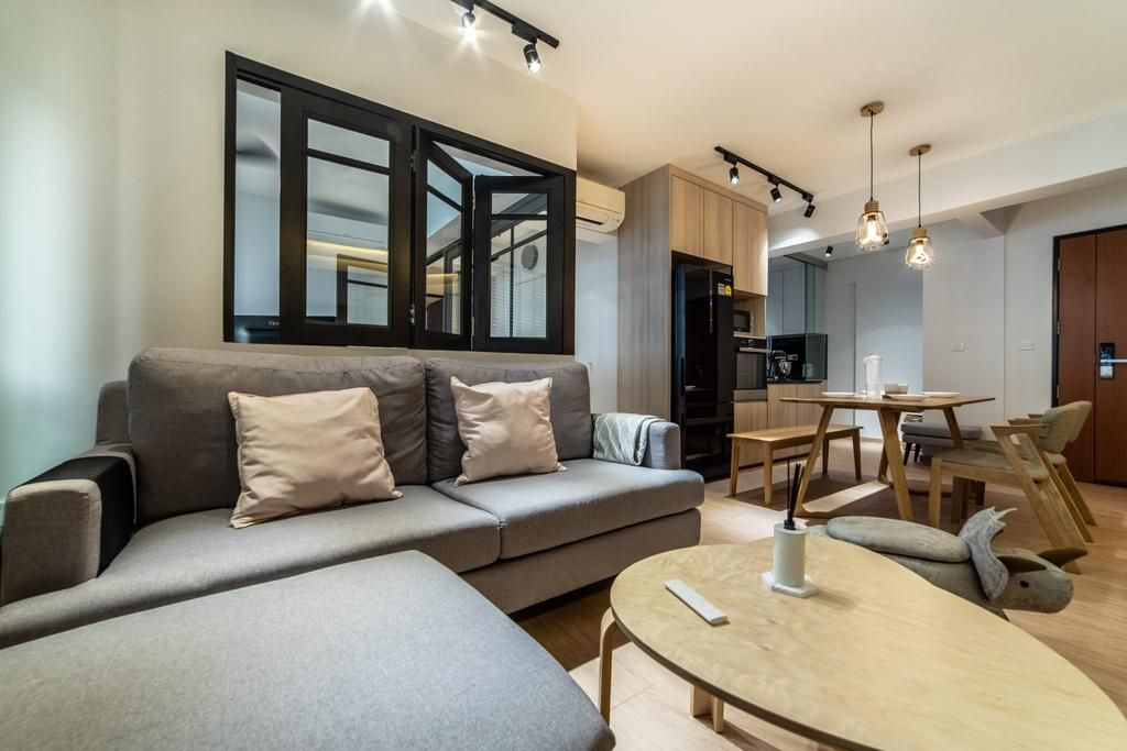 Scandinavian, HDB, Living Room, Telok Blangah Parcview, Interior Designer, Luova Project Services