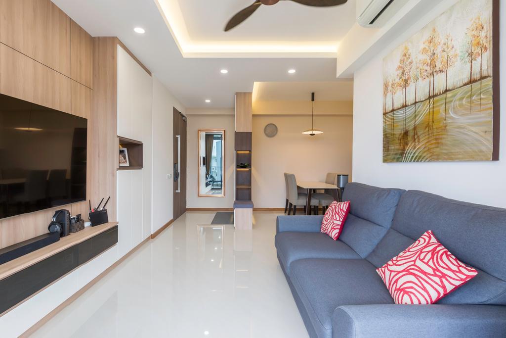 Modern, Condo, Living Room, Treasure Crest (Block 56), Interior Designer, Charlotte's Carpentry, Scandinavian