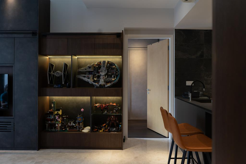Modern, Condo, Dining Room, Lakeside Drive, Interior Designer, Authors • Interior & Styling, Contemporary, Toys, Corridor, Collectibles, Display, Wall Display, Storage, Collection, Figurine