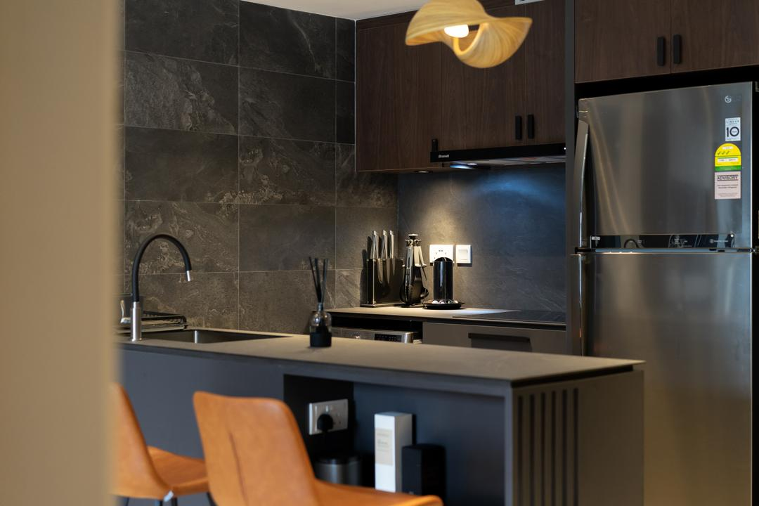 Lakeside Drive, Authors • Interior & Styling, Modern, Contemporary, Kitchen, Condo, Shelf In Counter, Design Details