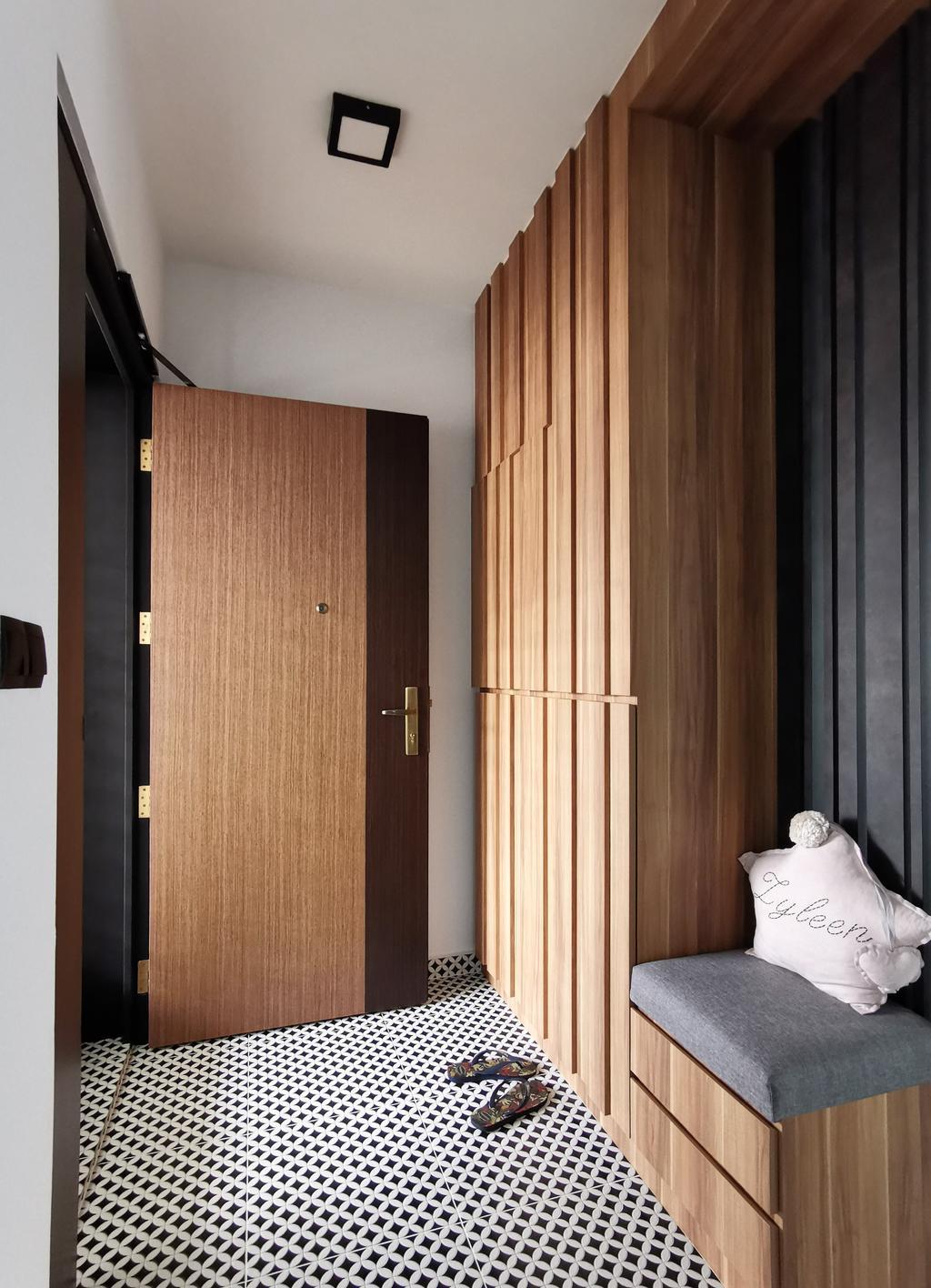 Contemporary, HDB, Living Room, Bukit Batok West Avenue 6 (Block 450B), Interior Designer, Diva's Interior Design, Shoe Cabinet, Shoe Storage, Entrance, Main Entrance, Door, Settee, Shoe Settee, Foyer