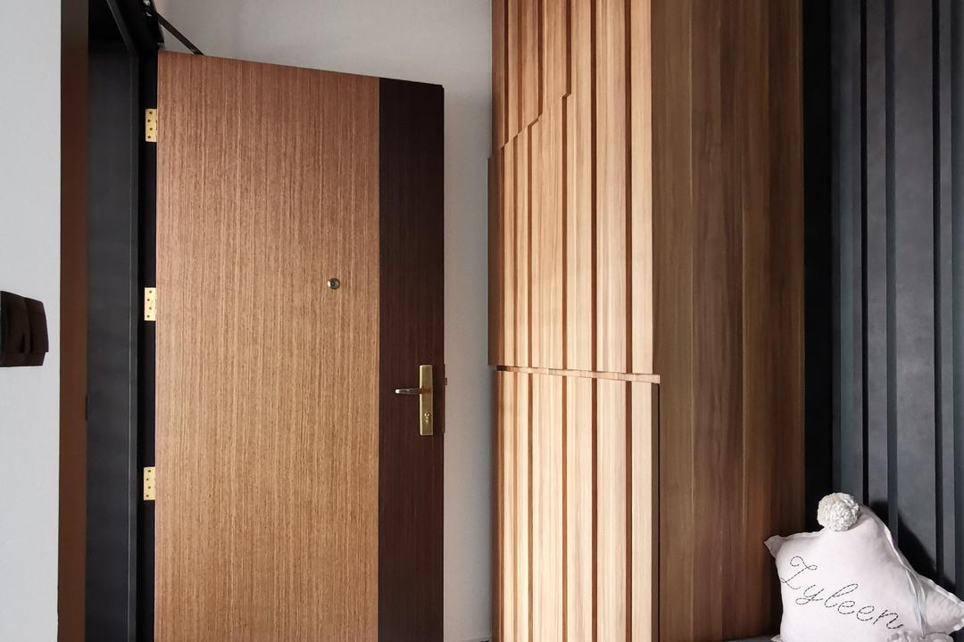 Bukit Batok West Avenue 6 (Block 450B), Diva's Interior Design, Contemporary, Living Room, HDB, Shoe Cabinet, Shoe Storage, Entrance, Main Entrance, Door, Settee, Shoe Settee, Foyer