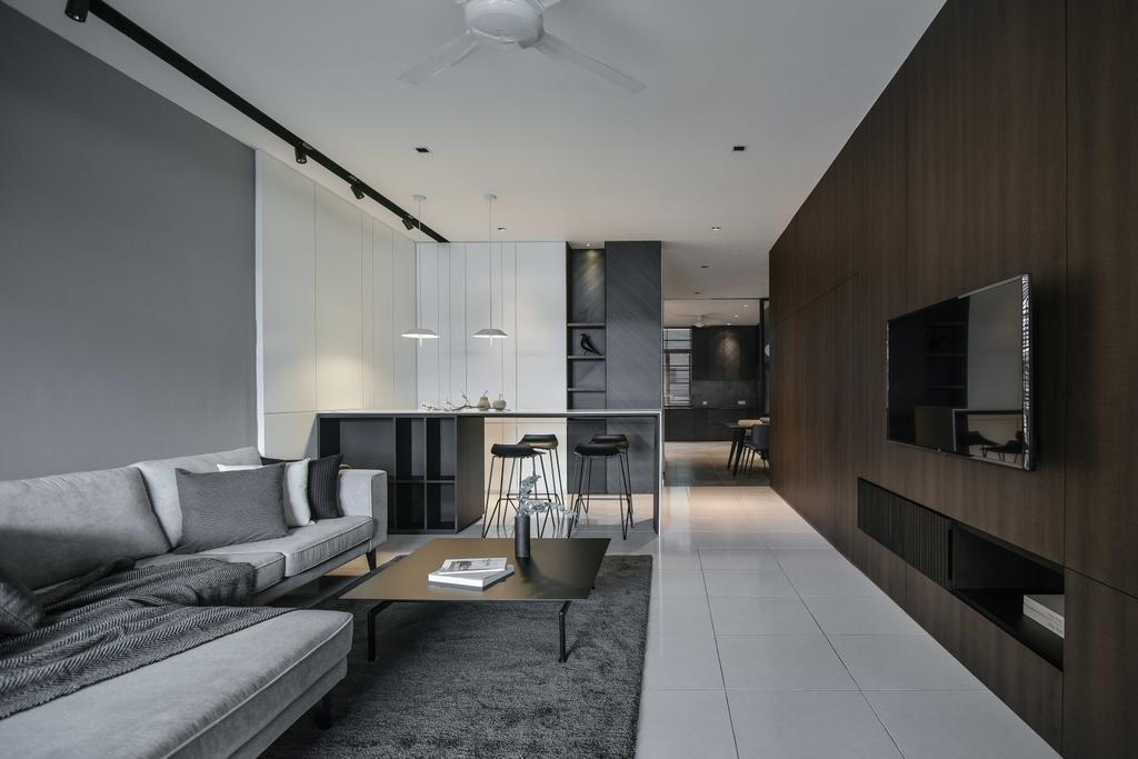 Minimalistic, Condo, Living Room, Taman Sri Gadong, Klang, Interior Designer, PINS Studio, Contemporary