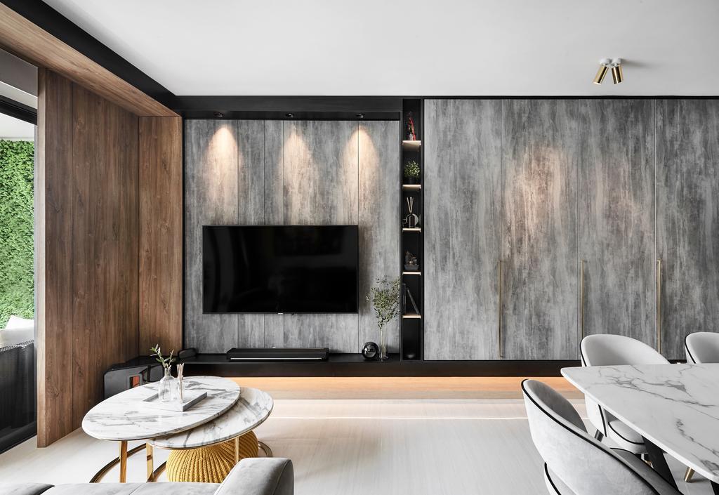 Modern, Condo, Living Room, Riversound Residence, Interior Designer, Icon Interior Design