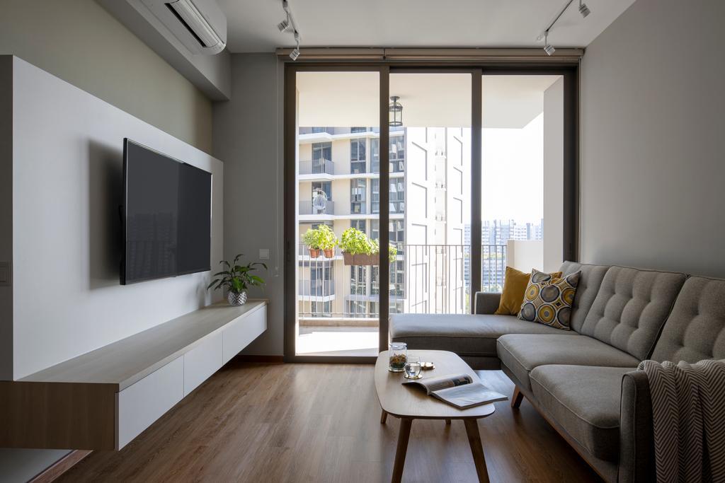 Minimalistic, HDB, Living Room, Anchorvale Crescent, Interior Designer, Aestherior
