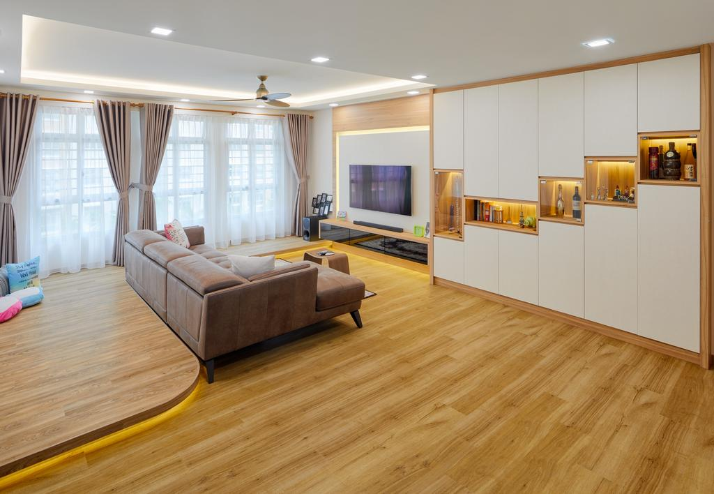 Contemporary, HDB, Living Room, East Crown @ Canberra, Interior Designer, Absolook Interior Design