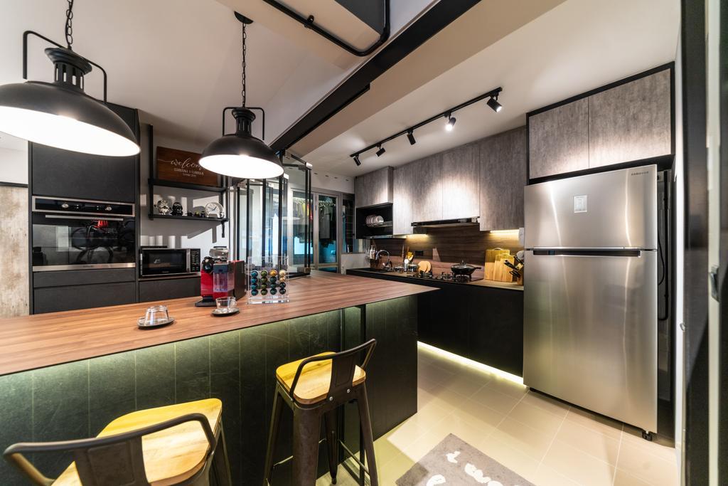 Modern, HDB, Kitchen, Bukit Batok West, Interior Designer, Space Atelier, Industrial