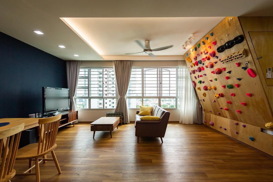 Ang Mo Kio Street 44, TDI Interior, Transitional, Living Room, HDB, Rock Climbing Wall, Rock Wall, Feature Wall