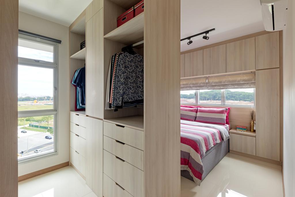 Scandinavian, HDB, Bedroom, Bukit Batok West Avenue 5, Interior Designer, Voila, Walk In Wardrobe, Wardrobe, Dressing Room, Dresser