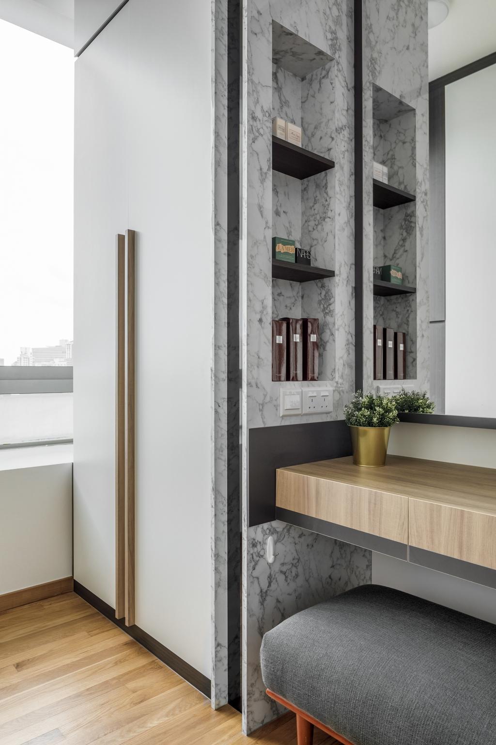 Modern, Condo, Bedroom, Lush on Holland Hill, Interior Designer, Anhans Interior Design, Contemporary, Vanity, Recessed Shelf, Storage Nook