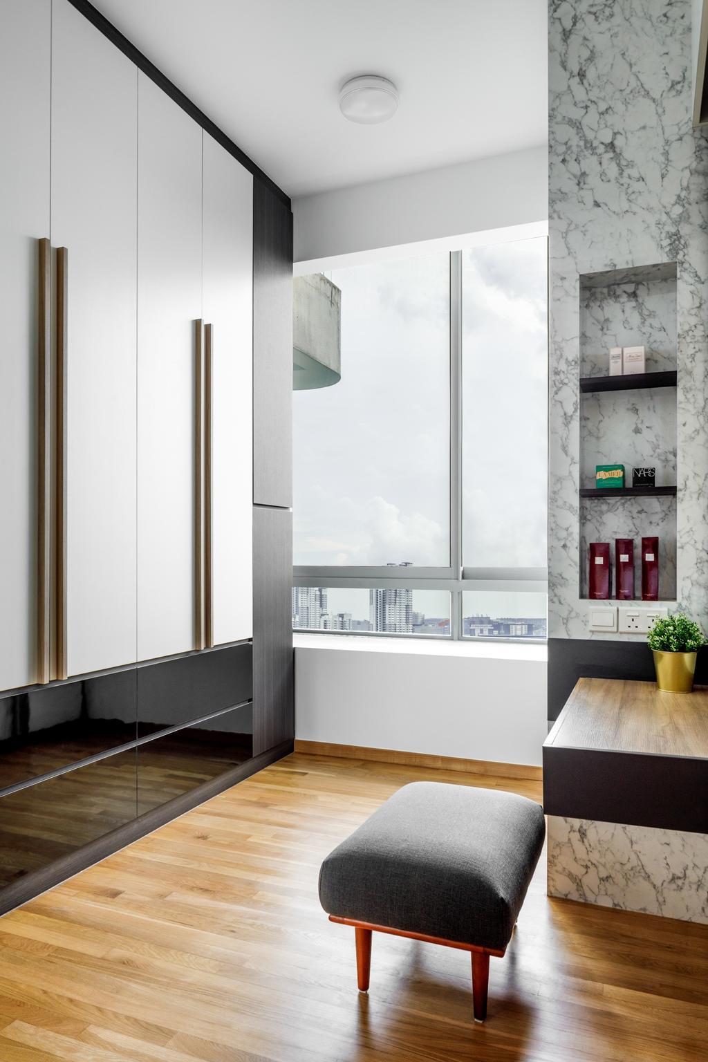 Modern, Condo, Bedroom, Lush on Holland Hill, Interior Designer, Anhans Interior Design, Contemporary, Wardrobe, Walk In Wardrobe, Dresser, Dressing Room, Vanity