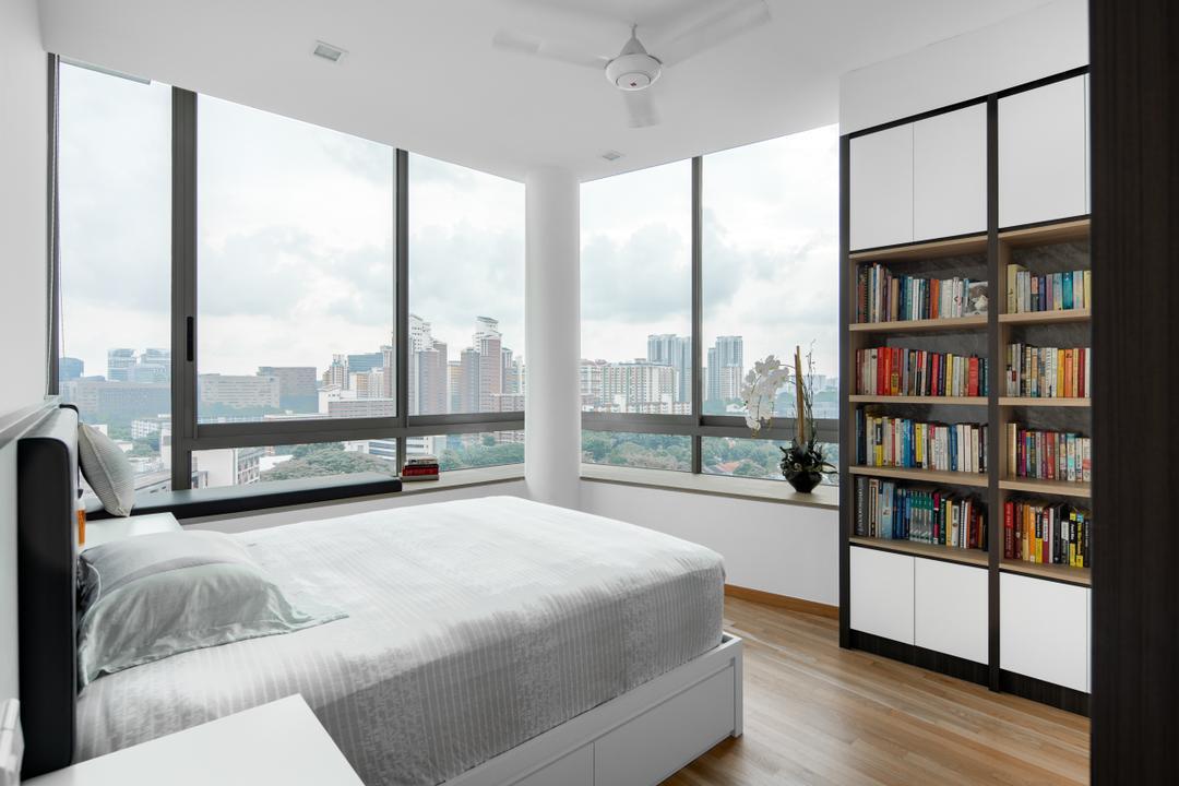 Lush on Holland Hill, Anhans Interior Design, Modern, Contemporary, Bedroom, Condo, Bay Window, Bookcase, Book Shelves
