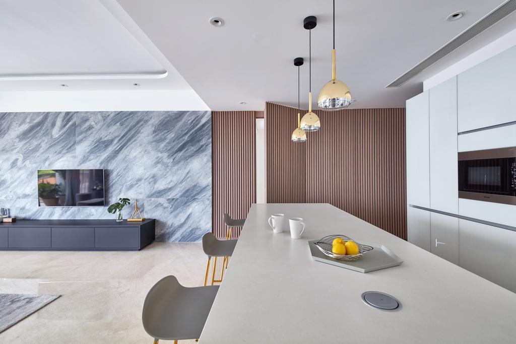 Modern, Condo, Dining Room, Trilight, Interior Designer, Free Space Intent, Kitchen Island