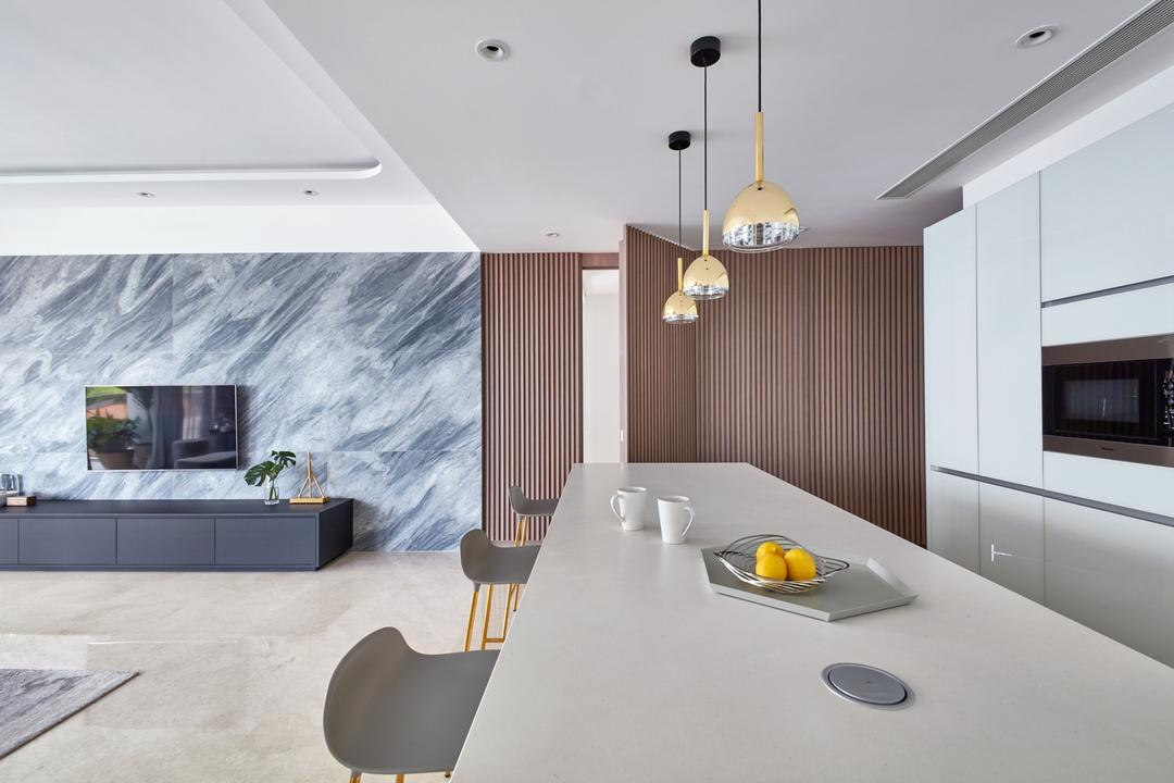 Trilight, Free Space Intent, Modern, Dining Room, Condo, Concealed Door
