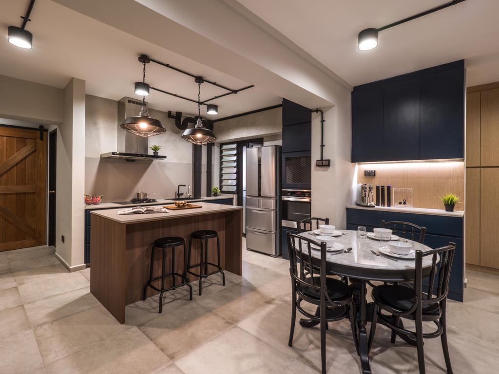 Industrial, HDB, Kitchen, Hougang Central, Interior Designer, The Safe Haven Interiors, Scandinavian, Kitchen Island, Open Concept