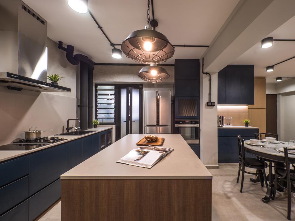 Industrial, HDB, Kitchen, Hougang Central, Interior Designer, The Safe Haven Interiors, Scandinavian