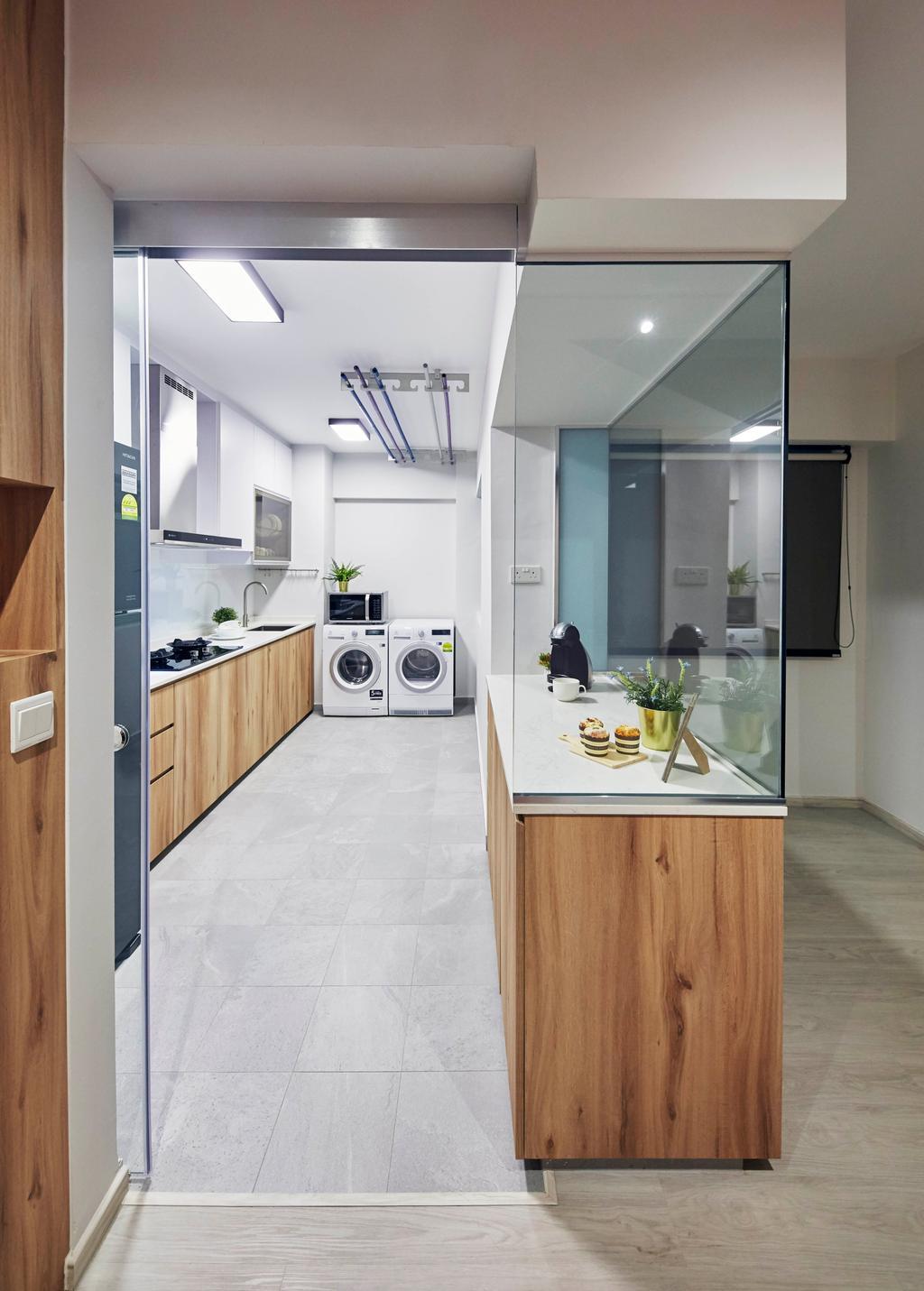 Contemporary, HDB, Kitchen, Punggol Drive, Interior Designer, i-Chapter, Service Yard