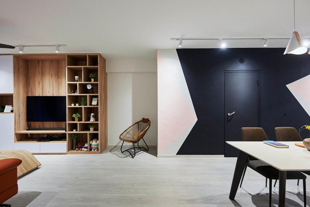 Punggol Drive, i-Chapter, Contemporary, Living Room, HDB, Geometric Wall, Corridor, Hallway