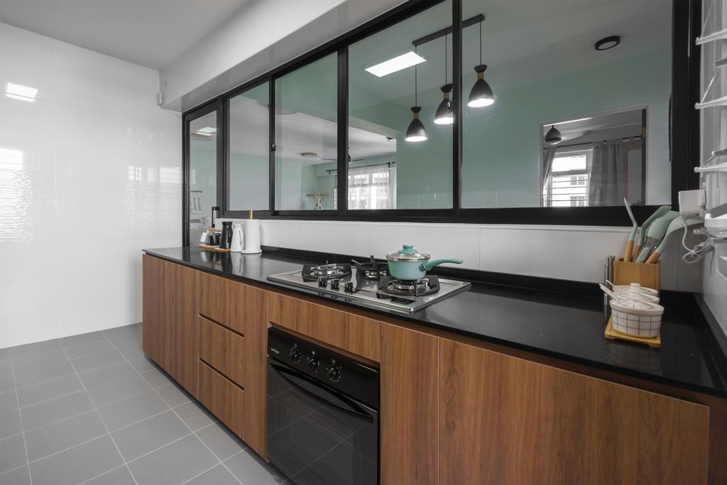 Contemporary, HDB, Kitchen, Sumang Walk, Interior Designer, Flo Design