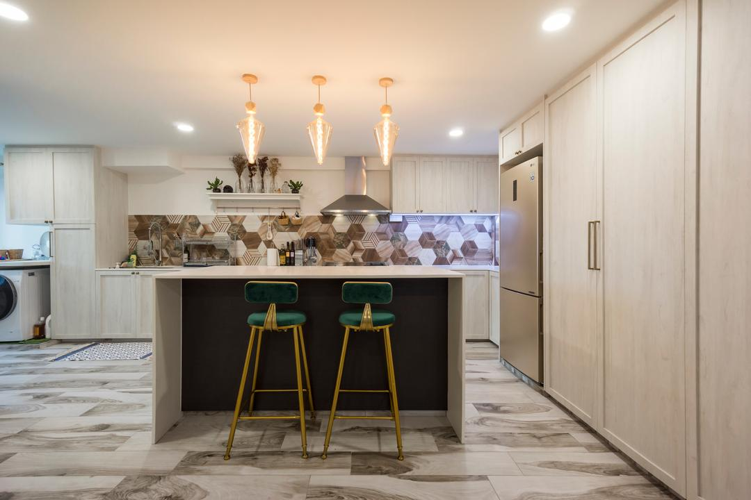 Pasir Ris Street 71, Flo Design, Contemporary, Dining Room, HDB, Kitchen Island, Kitchen Counter, Bar Counter, Bar Stools